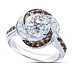 White Russian Ring With Mocha And White Diamonesk Diamonds