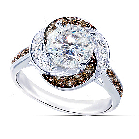 White Russian Ring With Mocha And White Diamonesk Diamonds