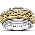 Ring - Celtic Traditions Men's Stainless Steel Spinning Ring With 24K-Gold Plating