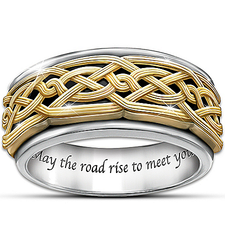 Celtic Traditions Men's Stainless Steel Spinning Ring With 24K-Gold Plating