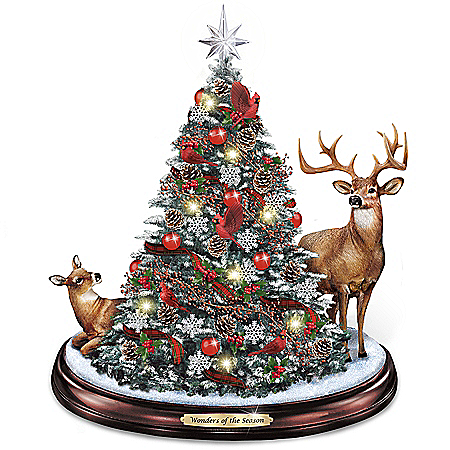 Wonders Of The Season Illuminated Holiday Tabletop Tree With Deer And Cardinals