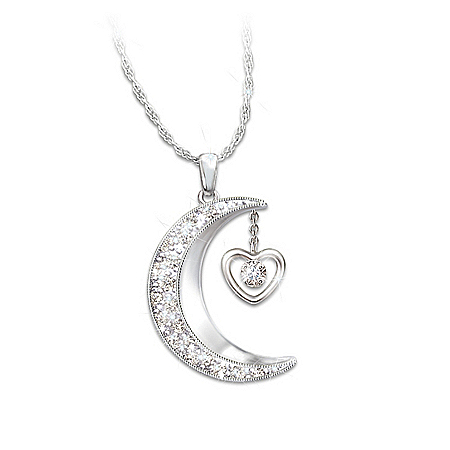 Granddaughter Engraved Crystal Moon Pendant Necklace