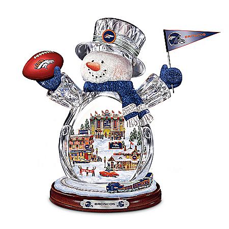 Figurine: Denver Broncos Crystal Snowman Figurine