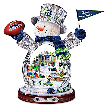 NFL-Licensed Seattle Seahawks Crystal Snowman Figurine With Moving Train