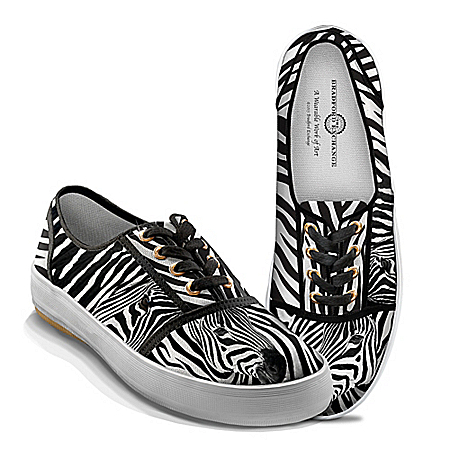 Zebra Luxe Women's Canvas Shoes With Zebra Print