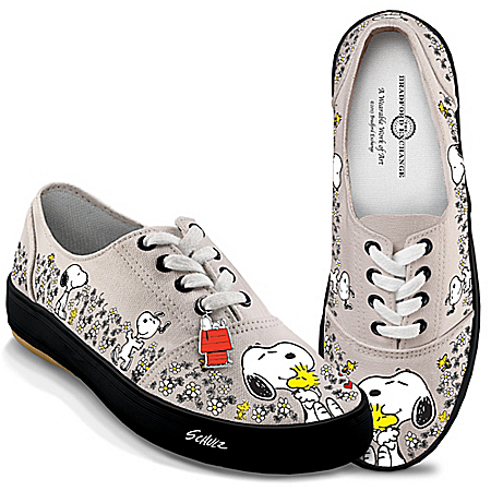 PEANUTS Happiness Is Friendship Women's Shoes With Snoopy And Woodstock