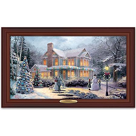 Thomas Kinkade Victorian Family Christmas Illuminated Canvas Print Wall Decor