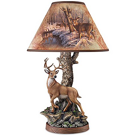 Greg Alexander Whitetail Majesty Accent Lamp With Whitetail Deer