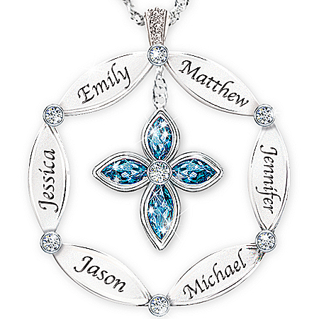 Women's Necklace: Family Blessing Personalized Pendant Necklace