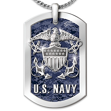 Navy Stainless Steel Men's Engraved Dog Tag Pendant Necklace