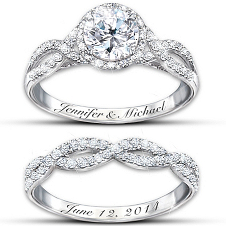 Ring Set: Entwined Diamonesk Personalized Bridal Ring Set – Personalized Jewelry