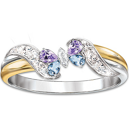 Lena Liu Jeweled Butterfly Embrace Topaz And Amethyst Women's Ring