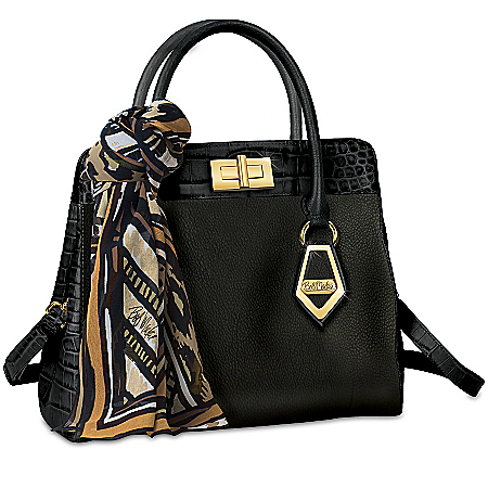 "Bob Mackie ""Rodeo Drive"" Designer Black Leather Handbag with Designer Scarf"