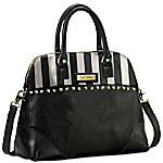 Bob Mackie Beverly Hills Women's Leather Satchel Handbag With Removable Shoulder Strap