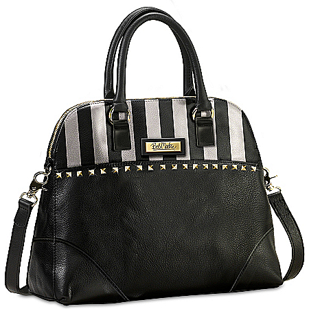Bob Mackie Beverly Hills Black Leather Satchel-Style Designer Handbag