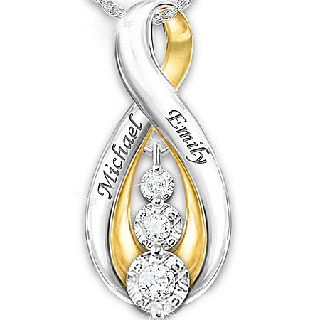 Today, Tomorrow, Always Our Love Is Forever Engraved Personalized Pendant Necklace