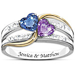 Forever Love Personalized Engraved Crystal Birthstone Women's Ring
