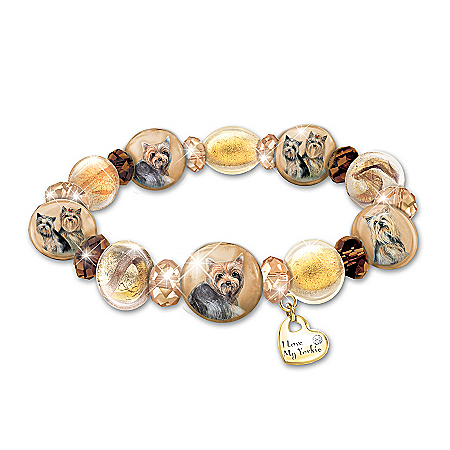 Bracelet: Reflections Of Love Yorkie Art-Glass Beaded Bracelet