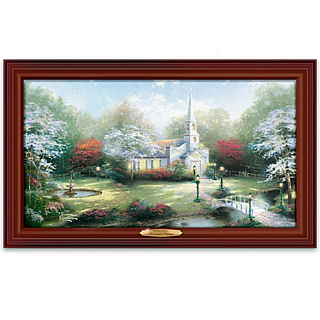 Thomas Kinkade Wood Framed Hometown Chapel - Wall Decor
