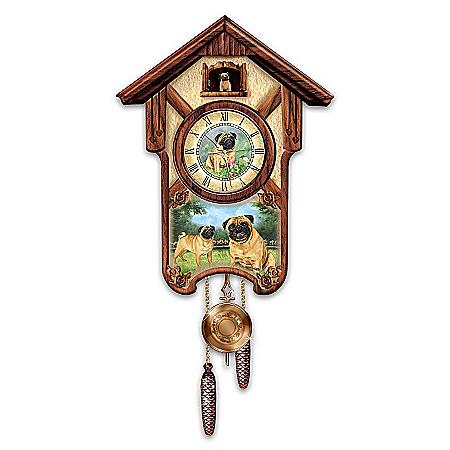 Cuckoo Clock: Playful Pugs Cuckoo Clock