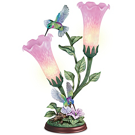 Luminous Wings Lamp With Hummingbirds And Illuminated Flowers