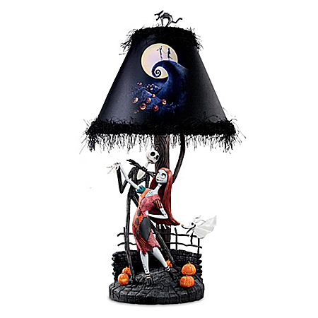 Tim Burton's The Nightmare Before Christmas Moonlight Table Lamp With Jack, Sally And Zero