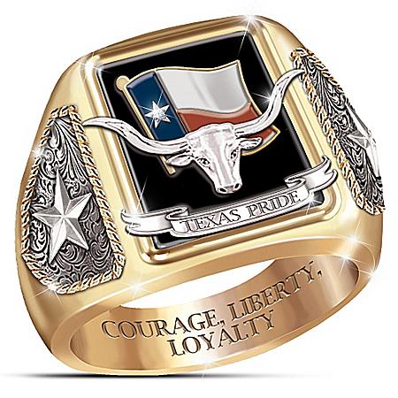 Stainless Steel Texas Pride Diamond And Black Onyx Ring