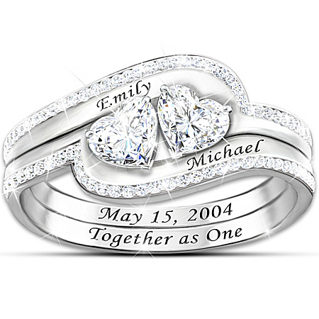 Ring: Sterling Silver Together As One Personalized Genuine White Topaz Ring