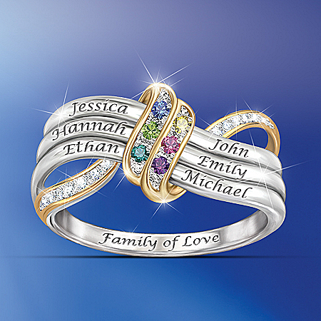 Ring: Our Family's Forever Love Personalized Birthstone Engraved Ring – Personalized Jewelry