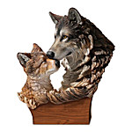 Mother and Pup Wolf Sculpture