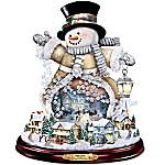 Thomas Kinkade Spreading Holiday Cheer Lighted Rotating Musical Snowman Sculpture