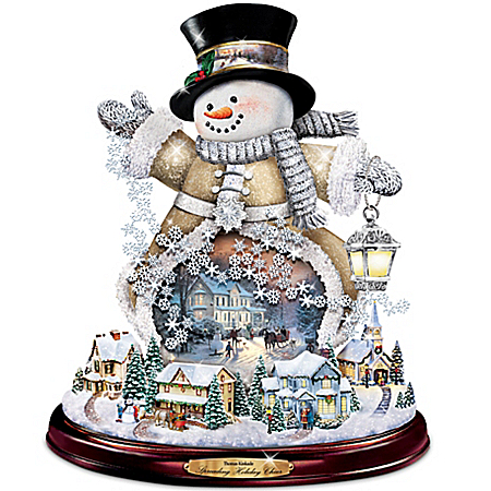Thomas Kinkade Spreading Holiday Cheer Lighted Rotating Musical Snowman Sculpture