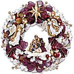 Thomas Kinkade Christmas Blessings Illuminated Wreath With Angels And Nativity Scene