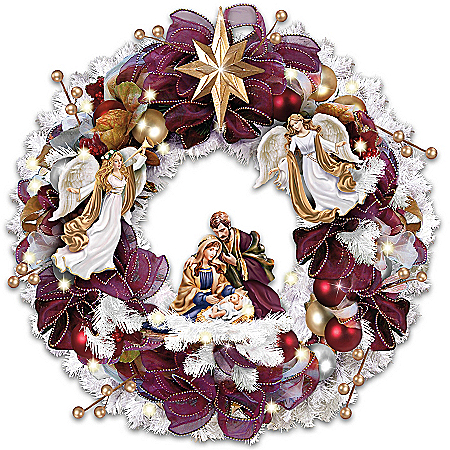 Thomas Kinkade Christmas Blessings Illuminated Wreath With Angels And Nativity Scene