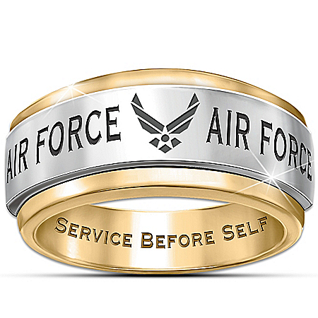 U.S. Air Force Stainless Steel Men's Spinning Ring