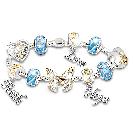 Faith, Hope And Love Beaded Diamond Charm Bracelet