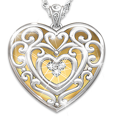 Glowing With Beauty Diamond Heart-Shaped Pendant Necklace