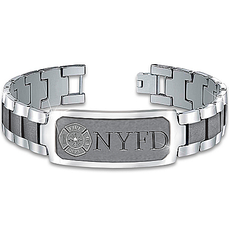 Bracelet: Duty, Honor & Courage Firefighter's Personalized Stainless Steel Bracelet