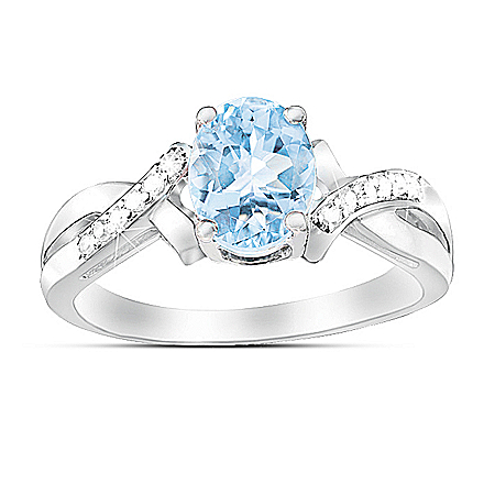 Ring: Elegance Aquamarine & Diamond Ring