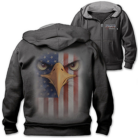 Proud And Free Patriotic Men's Hoodie With Bald Eagle And American Flag Images