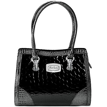 Alfred Durante Madrid Women's Black Faux Croc Leather Handbag