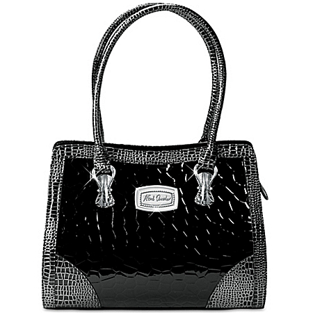 Alfred Durante Madrid Women's Black Faux Croc Leather Handbag
