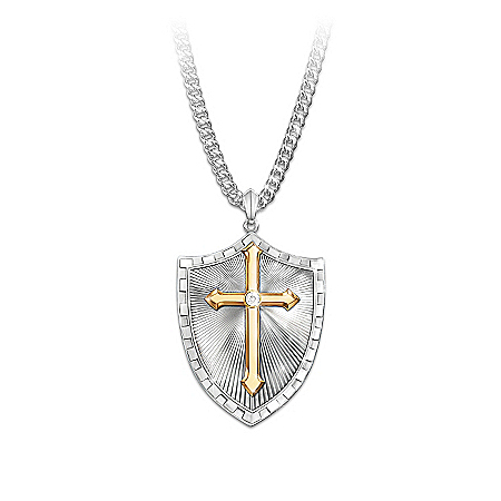 Necklace: Strength In The Lord Men's Shield Cross Diamond Pendant Necklace