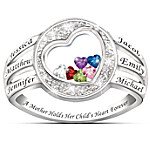 A Mother Holds Her Child's Heart Personalized Name-Engraved And Birthstone Ring