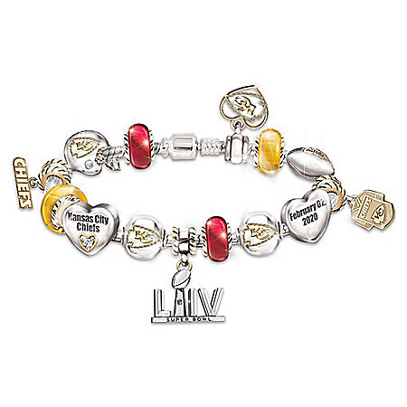 Go Kansas City Chiefs! #1 Fan Super Bowl Women's NFL Charm Bracelet