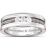 Ring - The Strength Of Our Love Personalized Men's Stainless Steel Diamond Ring