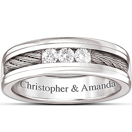 Ring: The Strength Of Our Love Personalized Men's Stainless Steel Diamond Ring