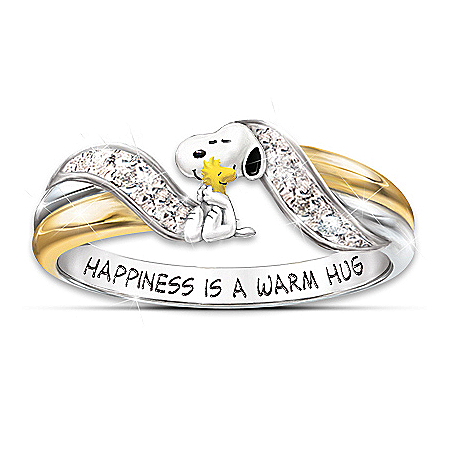 Happiness Is PEANUTS Snoopy And Woodstock Embrace - Women's Ring