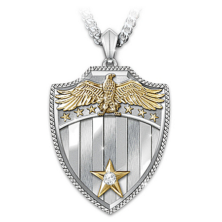 Necklace: Free Because Of The Brave Shield Diamond Pendant Necklace