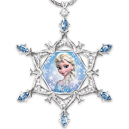 Disney FROZEN Diamond And Crystal Snowflake Pendant Necklace Featuring Elsa And Let It Go Engraving